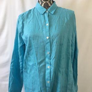 J.jill love linen essential shirt size medium blue